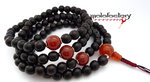 Ebony-Mala mit Karneol XL